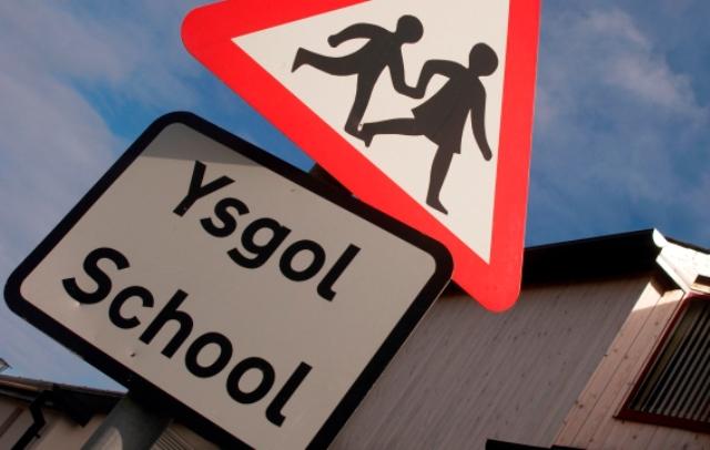 School Bi lingual Road Sign